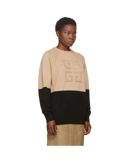 Givenchy ブラック And ベージュ カシミア ロゴ セーター Natural