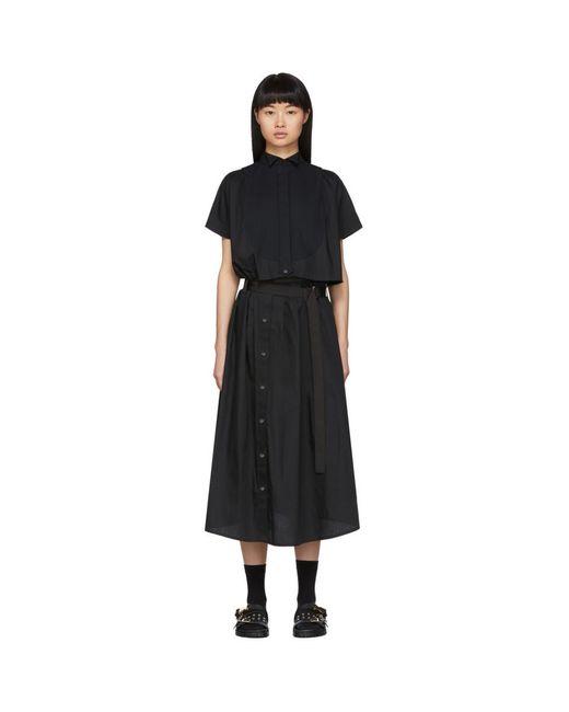 Sacai ブラック カットアウト シャツ ドレス Black