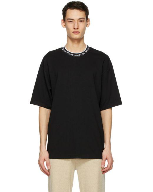 メンズ Acne ブラック ロゴ T シャツ Black