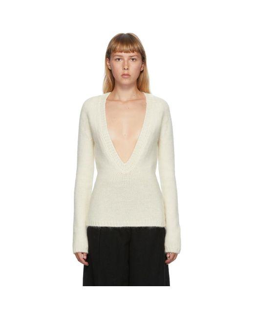 Jil Sander オフホワイト オーバーサイズ V ネック セーター White