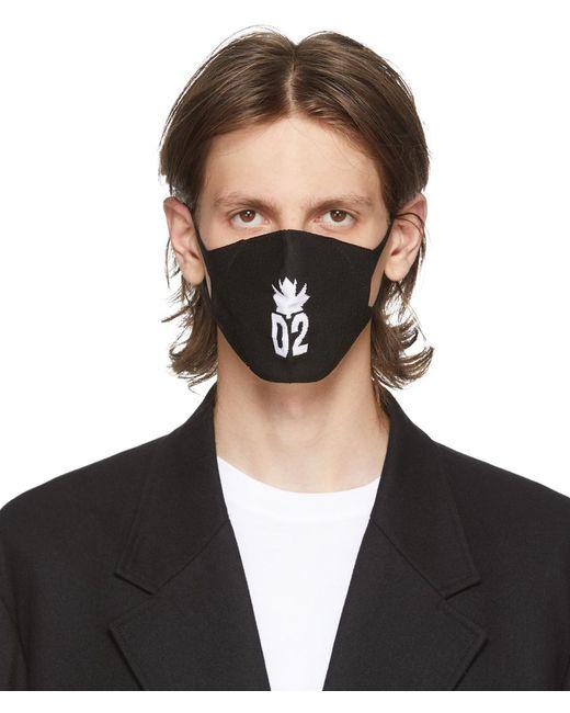 メンズ DSquared² ブラック Leaf マスク Black
