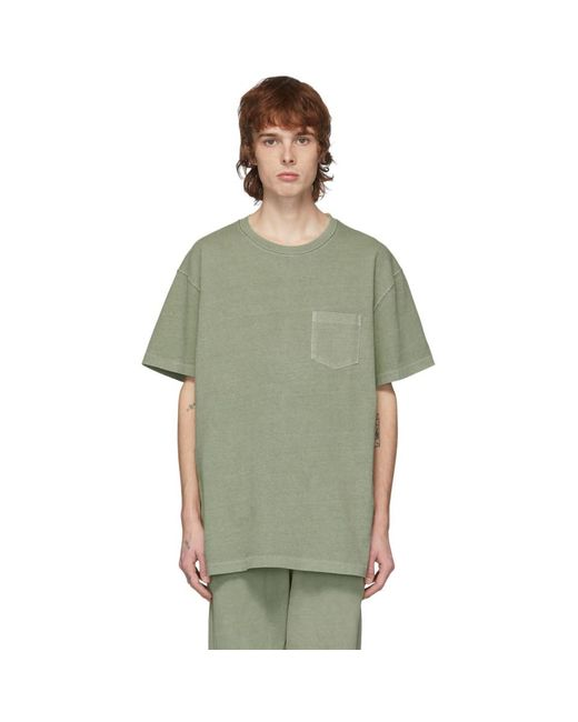 メンズ John Elliott グリーン ルース ステッチ ポケット T シャツ Green