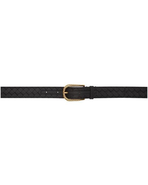 Bottega Veneta ブラック And ゴールド イントレチャート ベルト Black