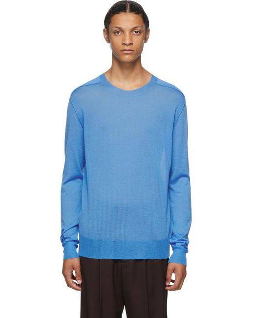 メンズ Bottega Veneta ブルー カシミア クルーネック セーター Blue