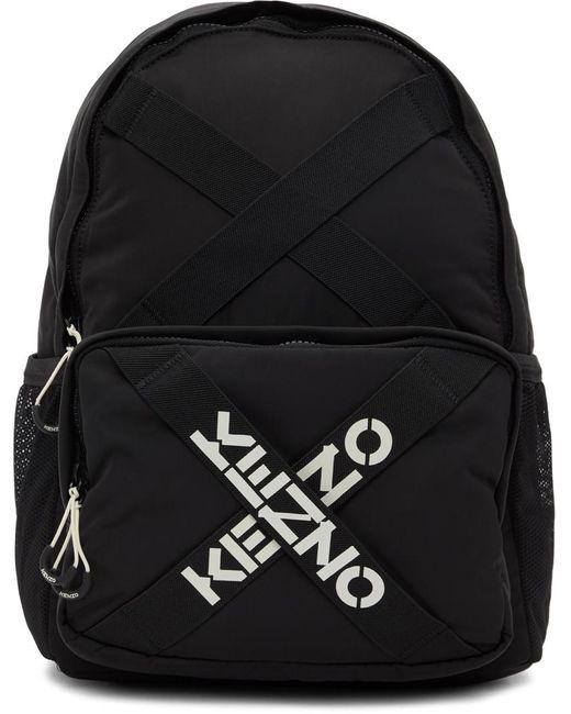 KENZO ブラック Sport ロゴ バックパック Black