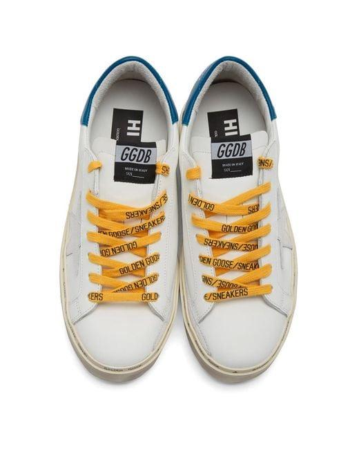 メンズ Golden Goose Deluxe Brand ホワイト And ブルー ハイ スター スニーカー White