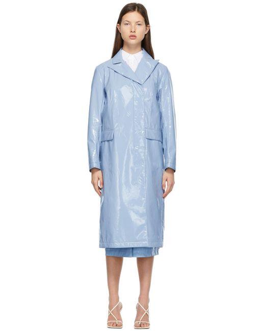 Sportmax ブルー フェイクレザー トレンチ コート Blue