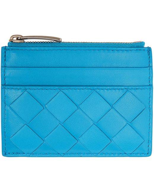 Bottega Veneta ブルー イントレチャート ジップ カード ケース Blue