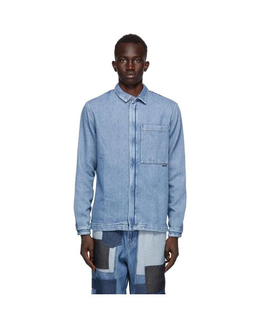 メンズ Sunnei ブルー デニム ジッパー ジャケット Blue