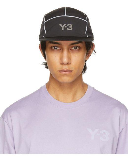 メンズ Y-3 ブラック Ref 5-panel ロゴ キャップ Purple