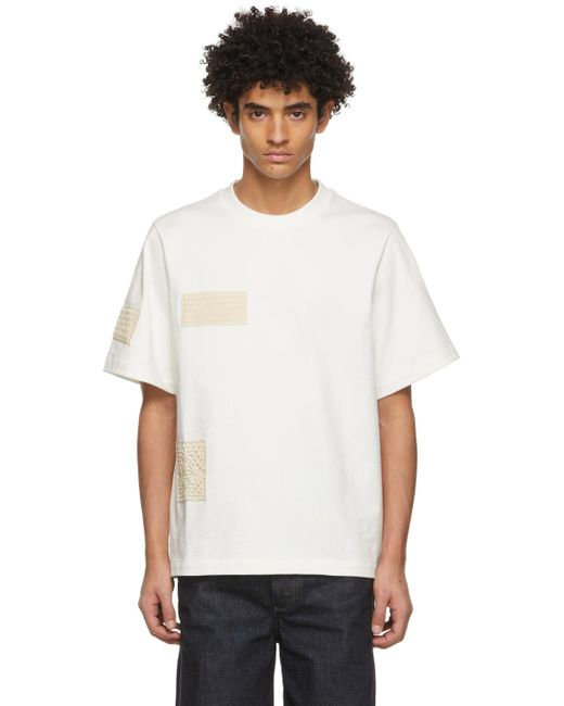 メンズ Jil Sander オフホワイト Crochet Patch T シャツ White