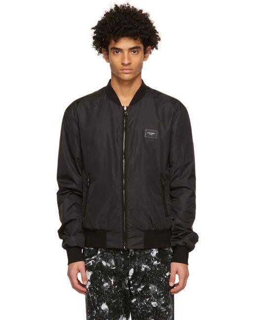 メンズ Dolce & Gabbana ブラック ボンバー ジャケット Black