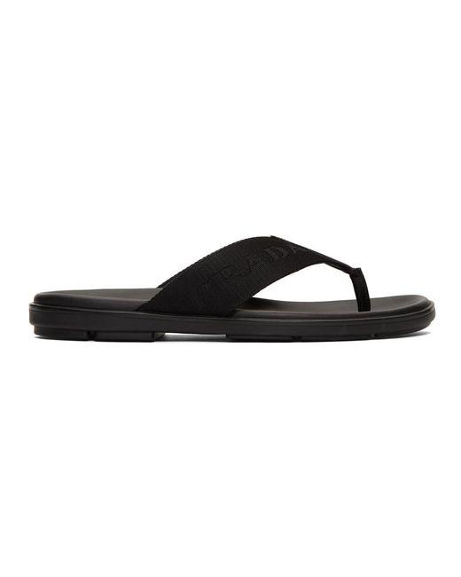 Sandales noires Logo Webbing Prada pour homme en coloris Black