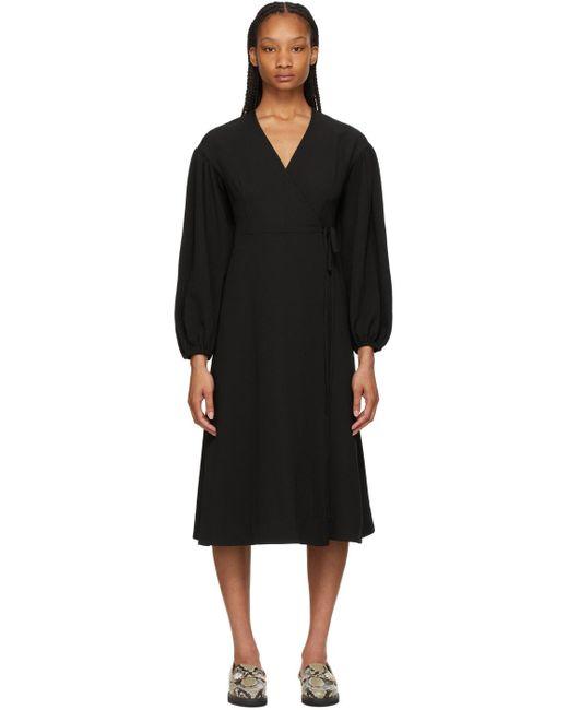 Ganni ブラック ラップ ドレス Black