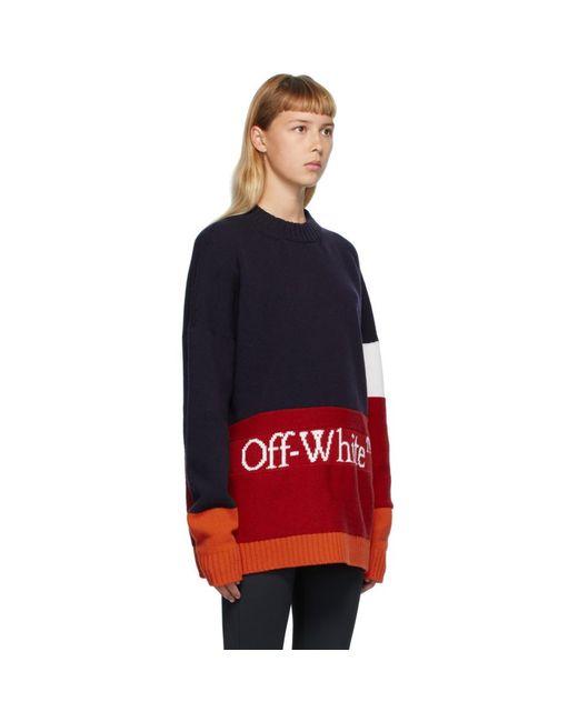 Off-White c/o Virgil Abloh ネイビー And レッド カラー ブロック セーター Red