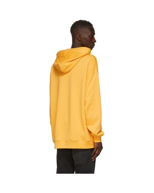 メンズ Acne イエロー オーバーサイズ パッチ フーディ Yellow