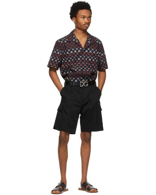 メンズ Dolce & Gabbana ブラック & シルバー ロゴ ベルト Black