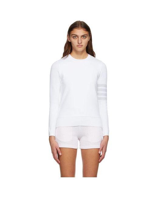 Thom Browne ホワイト クラシック ループバック 4bar スウェットシャツ White