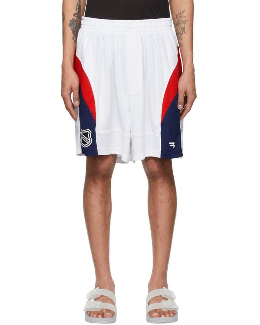 メンズ Balenciaga ホワイト & レッド Hockey ショーツ White
