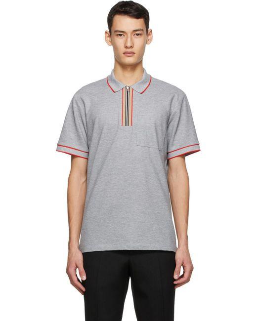 メンズ Burberry グレー アイコン ストライプ ポロシャツ Gray