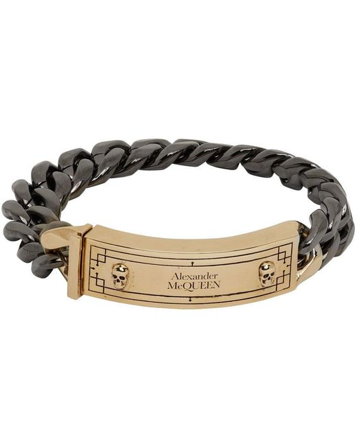 メンズ Alexander McQueen ガンメタル & ゴールド アイデンティティ チェーン ブレスレット Metallic