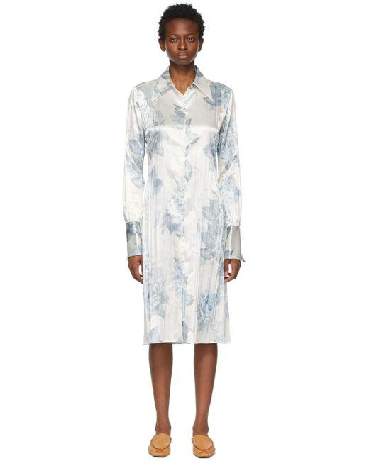 Acne ホワイト & ブルー フローラル ロング スリーブ ドレス White