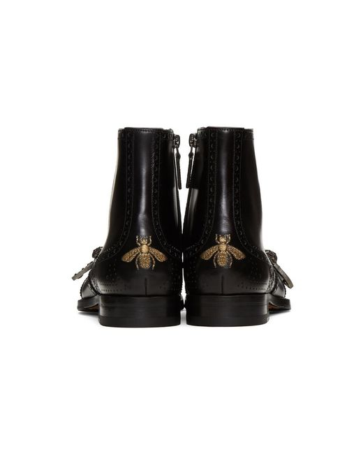 452a9a6a80e ... Lyst Gucci - Men s Spirit Tiger Head Buckled Brogue Boots In Black for  Men ...