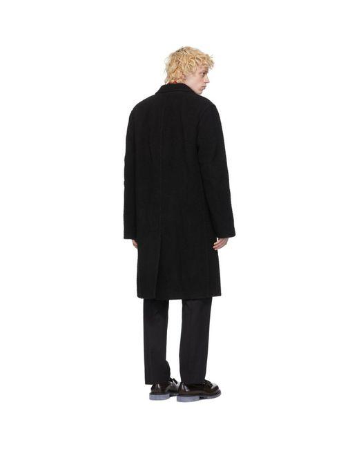メンズ Dries Van Noten ブラック ウール ロング コート Black