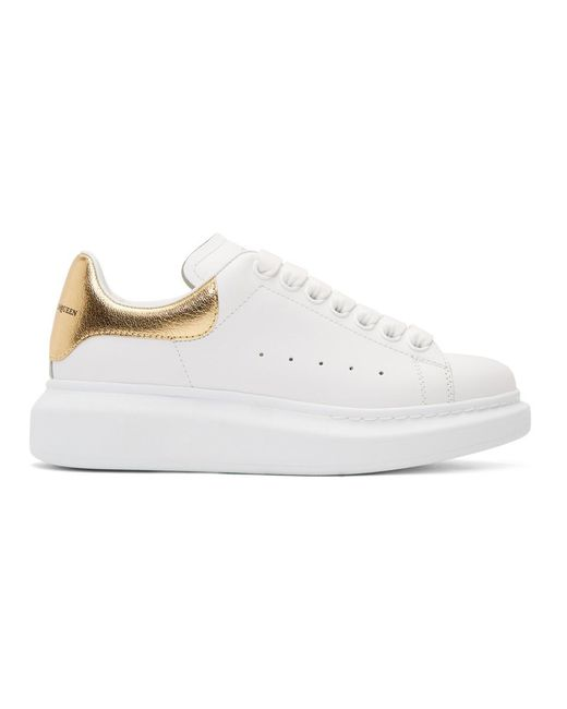 Alexander McQueen - White And Gold Oversized Sneakers - Lyst