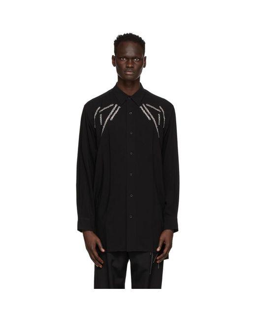 メンズ Yohji Yamamoto ブラック Big Embroidery シャツ Black