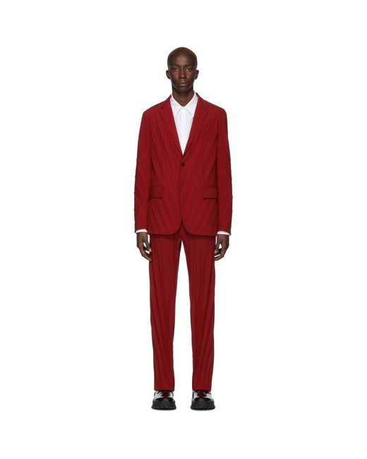 Valentino Red Plisse Suit for men