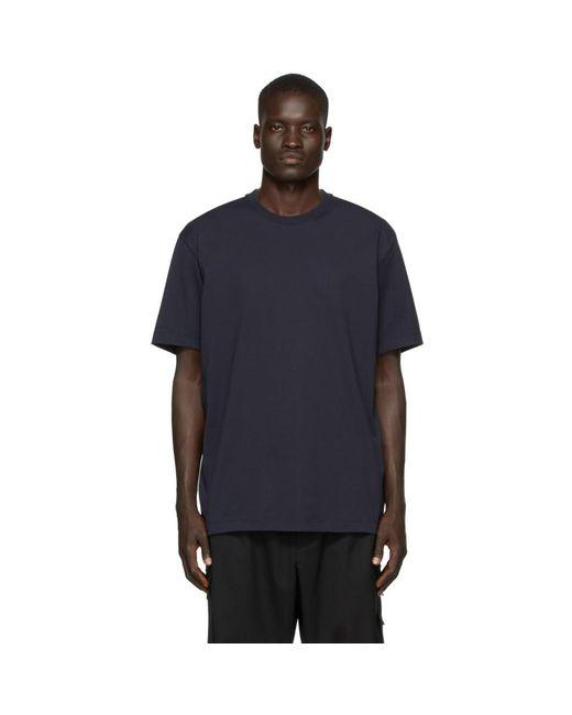 メンズ Y-3 ネイビー クラシック ロゴ T シャツ Blue