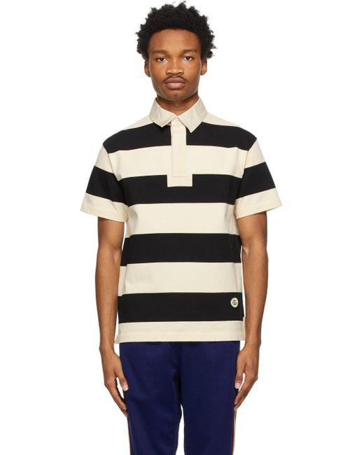 メンズ Gucci ベージュ & ブラック ストライプ ポロシャツ Black