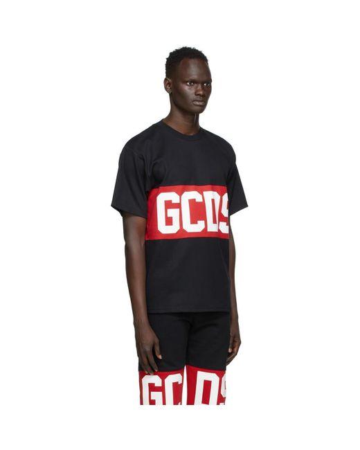 メンズ Gcds ブラック And レッド バンド ロゴ T シャツ Red