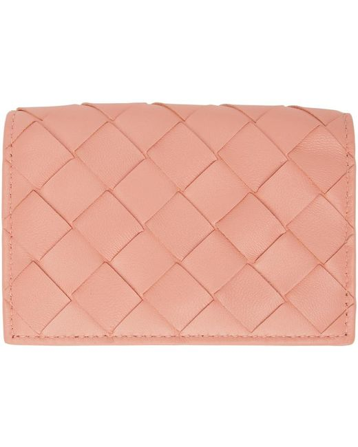 Bottega Veneta ピンク Intrecciato フラップ カード ケース Pink