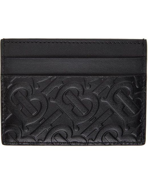 メンズ Burberry ブラック Sandon モノグラム カード ケース Black