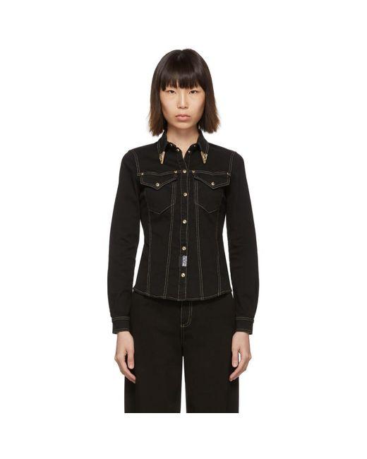 Versace Jeans ブラック デニム フィット シャツ Black
