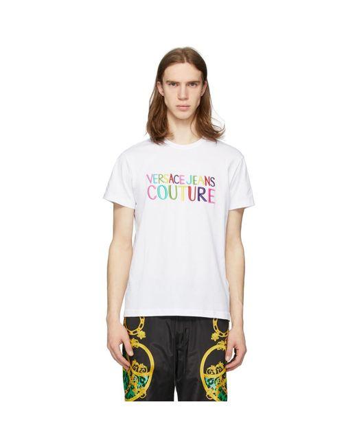 メンズ Versace Jeans ホワイト エンブロイダリー ロゴ T シャツ White