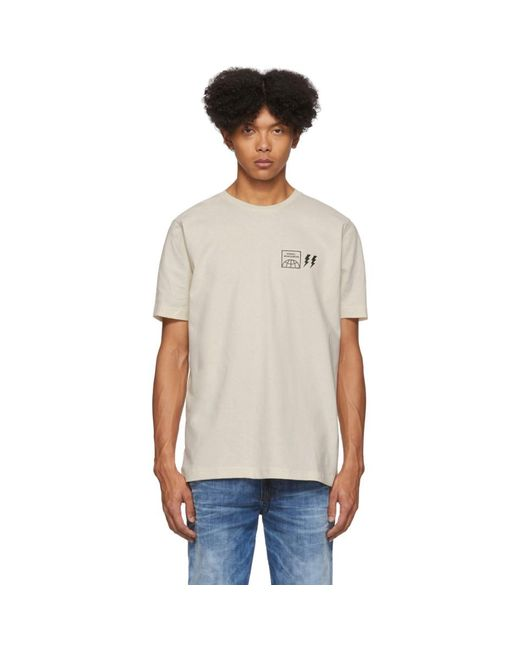 メンズ DIESEL オフホワイト ロゴ T シャツ White