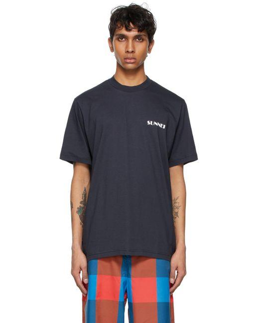 メンズ Sunnei ネイビー ミニ ロゴ T シャツ Blue