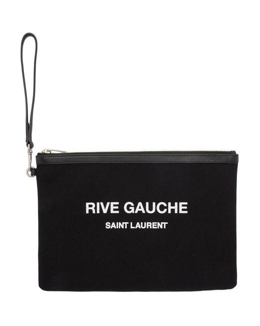 Saint Laurent ブラック キャンバス ポーチ Black