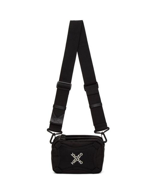 メンズ KENZO ブラック スポーツ ロゴ クロスボディ バッグ Black