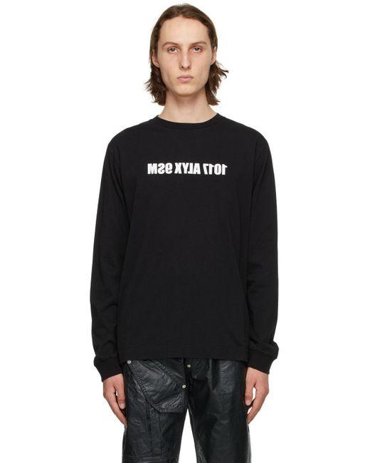 メンズ 1017 ALYX 9SM ブラック & ホワイト Mirrored ロゴ ロング スリーブ T シャツ Black