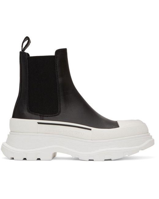 Alexander McQueen ブラック & ホワイト Tread Slick チェルシー ブーツ Black