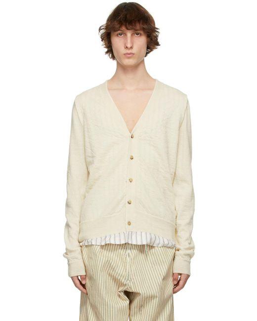 メンズ Maison Margiela オフホワイト Lining カーディガン White