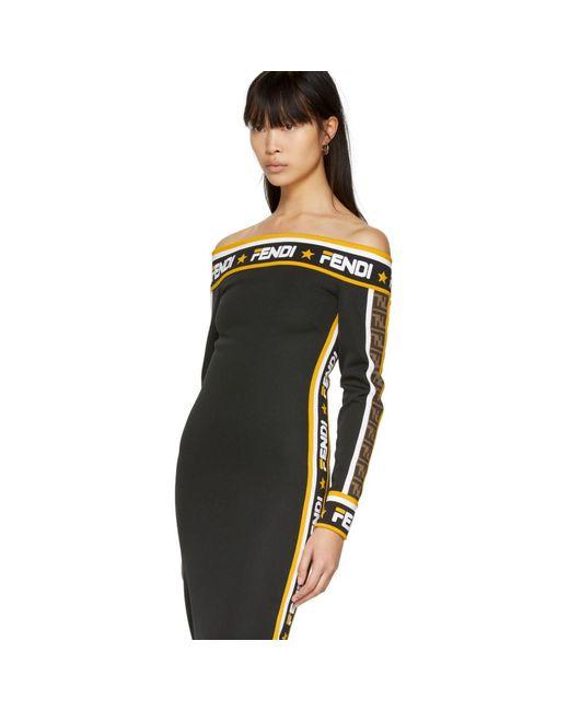 fac19b0d7a79 ... Fendi - Black Mania Off-the-shoulder Dress - Lyst ...