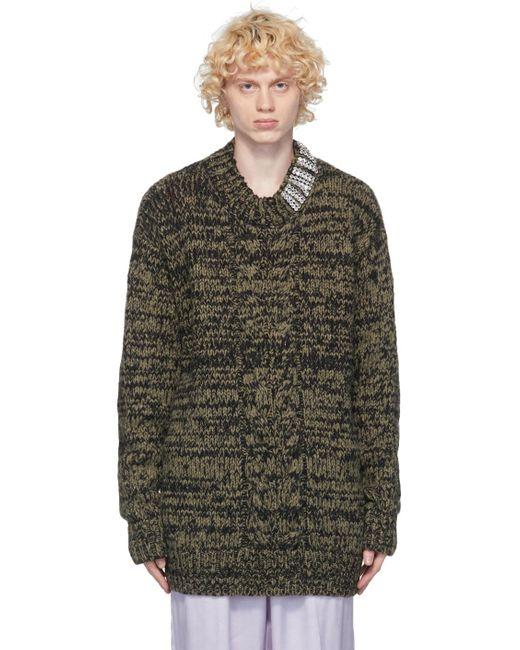 メンズ Dries Van Noten カーキ ラインストーン カラー セーター Multicolor
