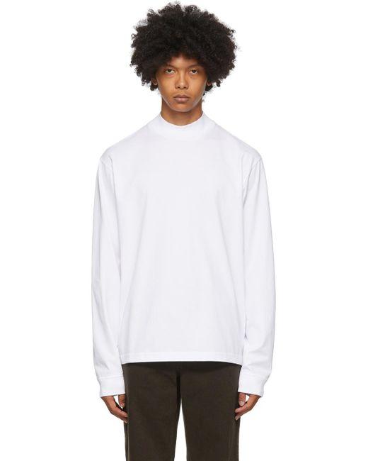 メンズ Acne ホワイト モック ネック ロング スリーブ T シャツ White