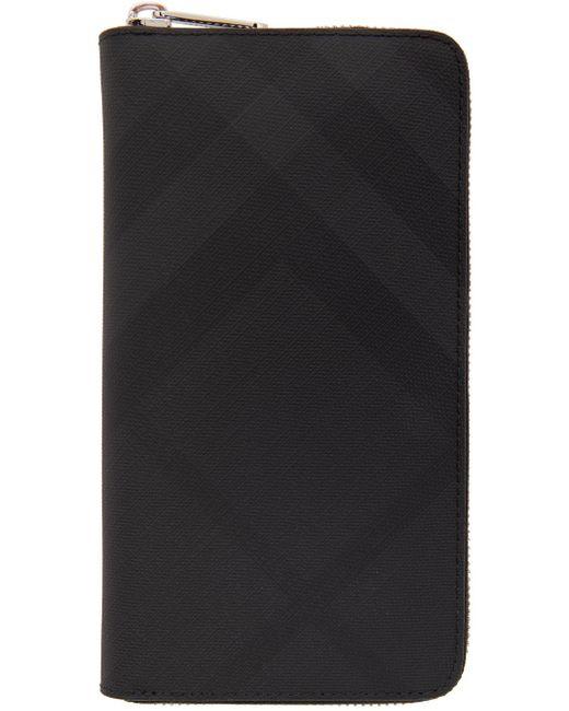 メンズ Burberry ブラック London チェック ジップアラウンド ウォレット Black