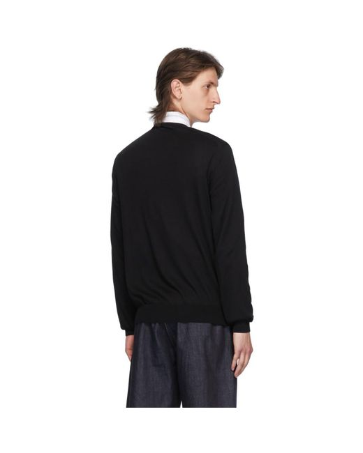 メンズ COMME DES GARÇONS PLAY ブラック And レッド ハート パッチ V ネックセーター Black